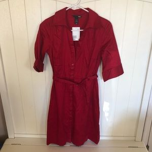 Red belted button down dress